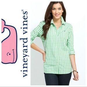 Vinyard Vines green gingham button down shirt 8
